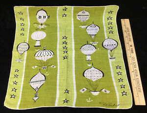 Hanky Handkerchiefs Pat Richard Hot Air Balloon Green White Stripe Black Vintage