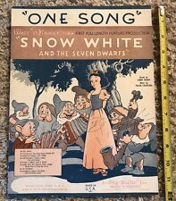 "Vintage 1937 Disney sheet music Snow White ""One Song"""