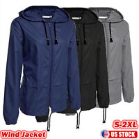 Womens Long Sleeve Hooded Wind Jacket Drawstring Outdoor Waterproof Rain Coat