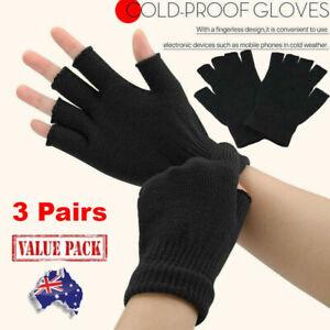 3 Pairs Winter Fingerless Gloves Open Finger Soft Warm Knitted Glove Unisex AU