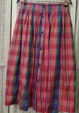 Vintage Silk Dirndl Skirt M / EU38 Pink Purple Plaid Check Skirt Made in Austria