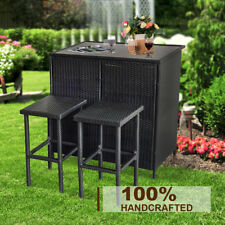 3PC Wicker Bar Set Patio Outdoor Backyard Table & 2 Stools Rattan Furniture