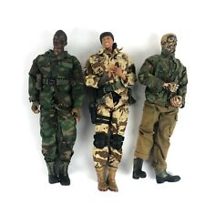 "Lot of 3: Vintage 21st Century Toys 12"" 1:6 Action Figures Clothes Army Paint"