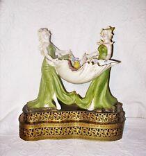 OOAK Antique Art Nouveau German Polychrome Porcelain Water Nymphs Metal Base EUC