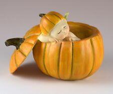 "Baby Fairy Sleeping In Orange Pumpkin Shell Figurine 2.5"" High Resin New In Box!"
