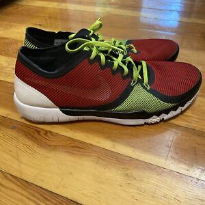NIKE Free 3.0 Shoes Red Neon Yellow Black 749361-066 Running US 13/47.5