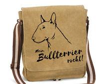 Canvas Messenger Tasche Hunderasse: Bullterrier Mein Bullterrier rockt!