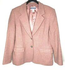 Women's Pendleton Wool  Blazer Slamon Pink 2 Button Front Pockets Size 8 Petite