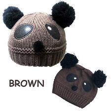 Baby Girl Boy Pom Pom Knitted Beanie Panda Hat Cap 4 mon-5 yrs