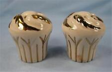Vintage White Cupcake With Gold Swirls Salt & Pepper Shakers Ceramic Yummy (O)