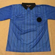 Adult Large Striped Referee Shirt Blue Jersey Soccer Official By Final Decision