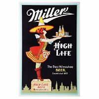 "Miller High Life Beer Server Vintage Style Metal Tin Sign New 10.5""W x 16""H"