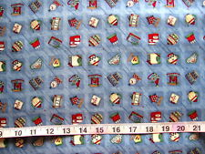 """100% Cotton Fabric Debbie Mumm by SouthSea Imports 1"""" Square with Country Items"""