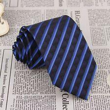 Men's Necktie Navy Blue Striped Jacquard Woven 100% Silk Party Neck Tie FS74