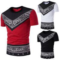 Men Summer Casual African Print Pullover Short Sleeve T-shirt Top Blouse US