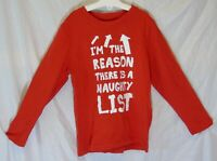 Boys Nutmeg Red I'm The Reason Naughty List Xmas Long Sleeve Top Age 6-7 Years