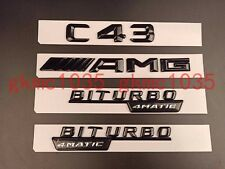 "Gloss Black ""C43 AMG BITURBO 4MATIC"" Number Emblem Sticker for Mercedes-Benz"