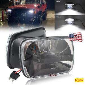 "DOT 105W 5x7"" 7x6"" Rectangle Led Headlight Hi/Lo for Jeep Cherokee XJ 1984-2001"
