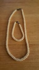 Beautiful cultured pearl torsade sterling silver necklace and bracelet Set