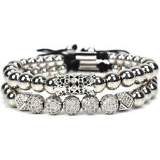 Luxury Men 18kt Silver Plated Micro Pave CZ Crown Macrame Bracelets Copper Beads
