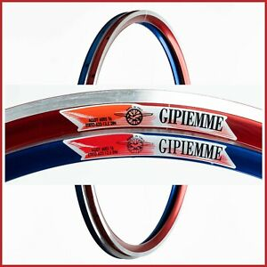 """NOS GIPIEMME TECNO 830 PRO CLINCHER RIMS 28"""" 16H HOLES 90s VINTAGE AERO RED BLUE"""