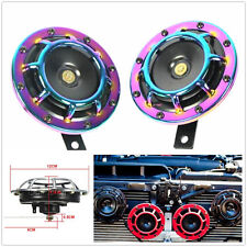 2xColorful Super Loud Compact Electric Blast Tone Hella Horn For CAR TRUCK Motro