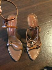 """Sergio Rossi Ankle Strap Heel Brown Size 38 (USA 8) Italy Heel Height 4 1/2"""""""