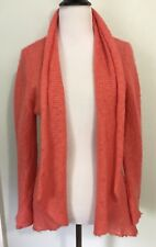 Anthropologie Wooden Ships Coral Acrylic Mohair Wool Draped Cardigan Sweater S M