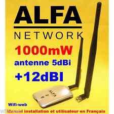 Carte Wifi Alfa Network AWUS036H 1000 mW antenne 5 dBi + 12 dBi