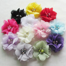 12PCS 6CM Lots Chiffon Ribbon Flowers W/ Beads Appliques Wedding Decor Bulk