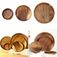 Japanese Style Natural Dinnerware Wooden Plate Durable&Smooth Round Tray Dish