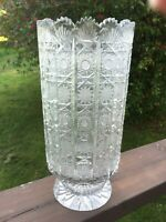 Vintage Czech Bohemia Hand Cut Queen Lace or Podebrady 500PK Glass Crystal Vase