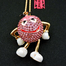 Betsey Johnson Pink Rhinestone Crystal Mr. Chocolate Bea Pendant Chain Necklace