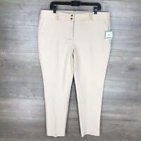 Anne Klein Women's Size 16 Slim Leg Dress Pants Woven Bottoms Beige NEW