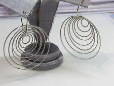 Exquisite Multi Loop Illusion Large Hoop CZs Pave 925 Silver Drop Earrings Unusl