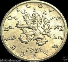 Czechoslovakia - Czechoslovakian 1931 50 Haleru Coin Rare Rampant Lion