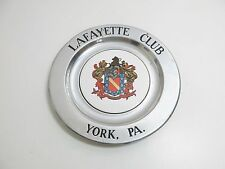 "WILTON ARMETALE PEWTER LAFAYETTE CLUB IN YORK PA 11"" PLATE CERAMIC CENTER"