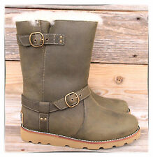 UGG Australia Noira Pineneedle Green Moto Leather Sheepskin Short Boots US 6 NEW