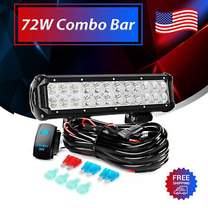 """Nilight LED Light Bar 12""""IN 72W Combo 5Pin Rocker Switch Wiring for Jeep ATV 4WD"""