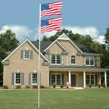 20/25 FT Sectional Aluminum Flagpole 2X US American 3x5 Flags Pole Gold Ball Kit