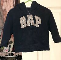 Baby Gap Hoodie Full Zip Up Hooded Jacket Navy Blue Logo 12-18 Months 12 18