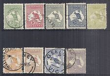 1913 Australia SC 1-9 Kangaroo with Map, Set of 9, Used*