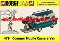 Corgi Toys 479 Commer Mobile Camera Van Poster A4 Size Shop Display Sign Leaflet