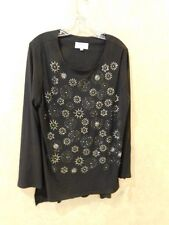 Lily & Taylor Women's 14 Bling Stars and circles Black Blouse Long ________R12C2