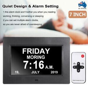 """7""""Digital Day Clock LED Calendar Dementia Alarm Time Date Month Year Memory Loss"""
