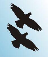 2 Aufkleber Tattoo Habicht 40cm weiß Folie Vogel Fenster Glas Scheiben Schutz