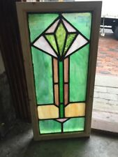 Sg 1517 Antique Deco Diamond Stainglass Window 12.25 X 26 H