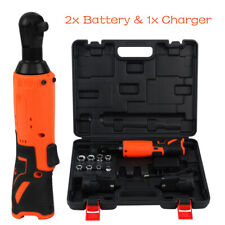 38 Electric Cordless Ratchet Wrench Right Angle Set With 2 Batteries Sockets