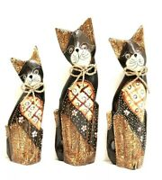 Decorative Cat Statue Set Of 3 Wood Carved & Painted Bow Detail by Zenda Imports