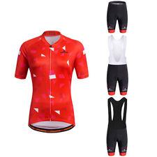 Women's Cycling Set Red Ladies Cycling Jerseys and Padded (Bib) Shorts Kit S-5XL